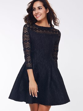 Ericdress Plain Three-Quarter Sleeve Casual Dress