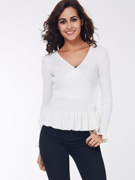 Ericdress White Pelplum Down Knitwear
