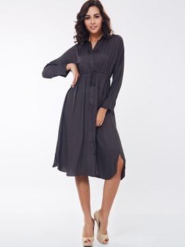 Ericdress Plain Single-Breasted Lace-Up Lapel Casual Dress