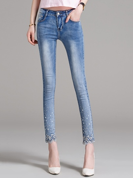 Ericdress Skinny Embroidery Jeans