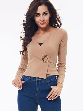 Ericdress Silvery Ring Tie Back T-Shirt