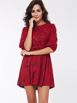 Ericdress Lantern Sleeve Lace-Up Casual Dress