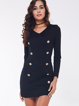 Ericdress Plain V-Neck Nine Points Sleeve Bodycon Dress