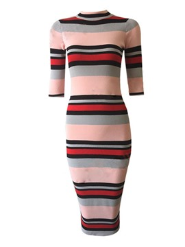Ericdress Stripe Stand Collar Knitted Sheath Dress