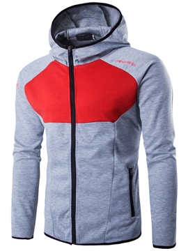 Ericdress Color Block Zip Unique Casual Men's Hoodie