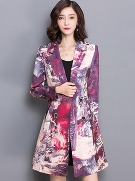 Ericdress Floral Print Lace Up Coat