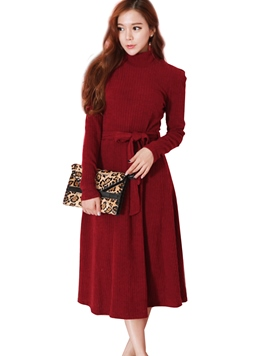 Ericdress Solid Color Lace-Up Stand Collar Sweater Dress