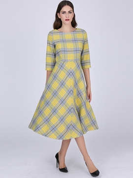 Ericdress Plaid Half Sleeve Maxi Dress