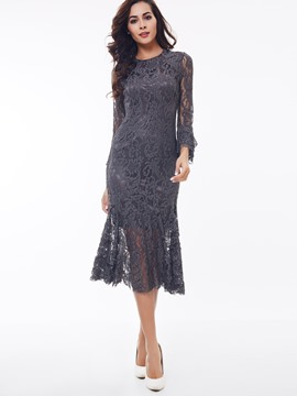 Ericdress Solid Color Mermaid Round Neck Lace Dress