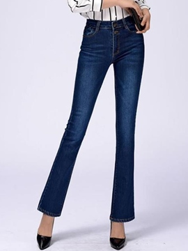 Ericdress Vintage High-Waist Flared Jeans