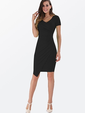 Ericdress Sexy Asymmetric Soild Color Bodycon Dress