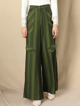 Ericdress Unique Vintage Stripe Wide Legs Pants