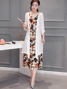 Ericdress Pastoral Print Dress Suit