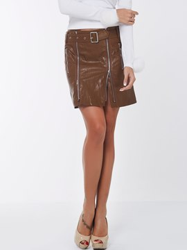 Ericdress Punk Style PU Zipper Skirt