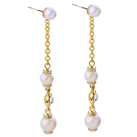 Ericdress Long Alloy Pearls Earrings