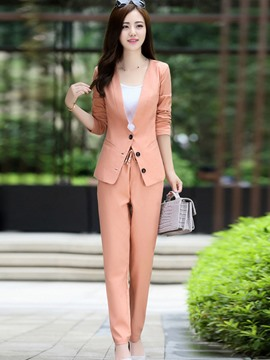 Ericdress Unique Solid Color Blazer Suit