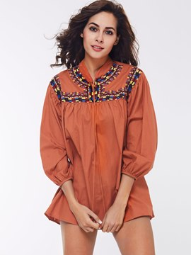Ericdress Lantern Sleeve Pleated Ethnic Blouse