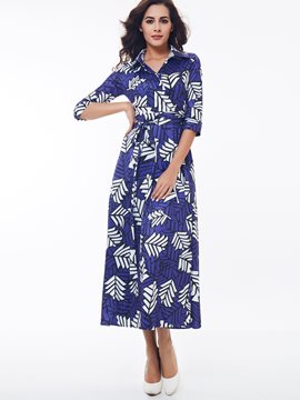 Ericdress Print Lapel Lace-Up Maxi Dress