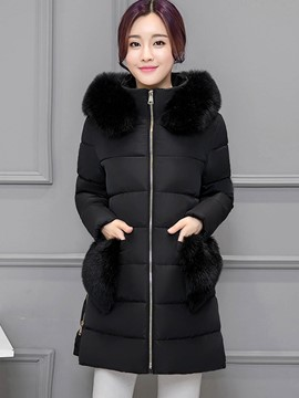 Ericdress Solid Color Straight Plus Size Coat