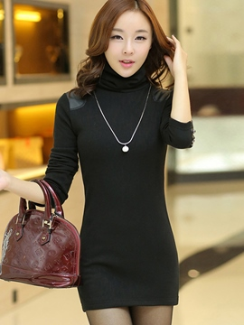 Ericdress Plain Patchwork Turtleneck Bodycon Dress