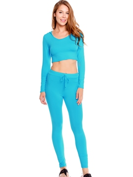 Ericdress Solid Color Two-Piece Sports Suit