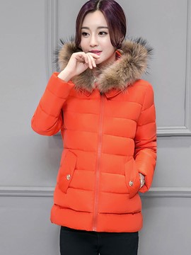 Ericdress Color Block Straight Plus Size Coat