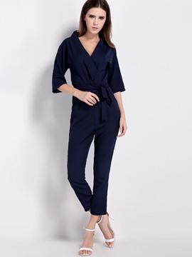 Ericdress Solid Color N-Neck Jumpsuits Pants