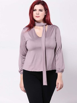 Ericdress Plus Size Purple Down T-Shirt