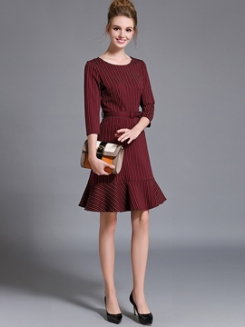 Ericdress Falbala Three-Quarter Sleeve Tight Casual Dress