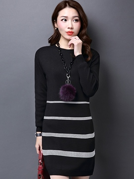 Ericdress Round Neck Straight Thick Sweater Dress