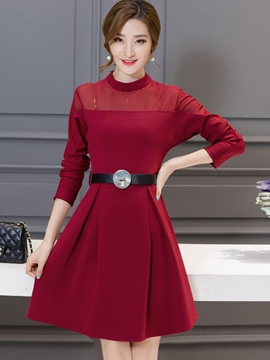 Ericdress Stand Collar A-Line Slim Casual Dress
