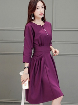 Ericdress A-Line Three-Quarter Sleeve Solid Color Casual Dresss