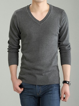 Ericdress Plain V-Neck Pullover Men's Sweater