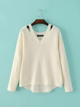 Ericdress Casual Loose Solid Color V-Neck Knitwear