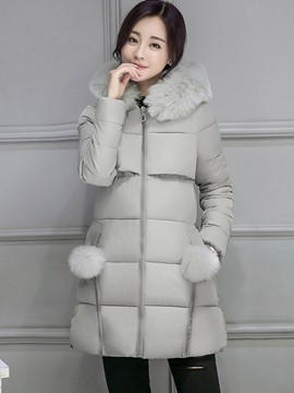 Ericdress Solid Color Slim Thick Cotton Coat