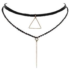 Ericdress Triangle Pendant Velvet Necklace