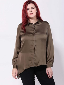 Ericdress Plus Size Asymmetric Blouse
