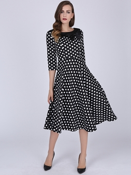 Ericdress Polka Dots Patchwork Bowknot Expansion Casual Dress