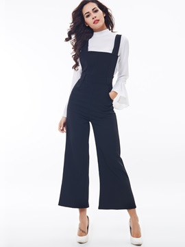 Ericdress Fashion Solid Color Suspender Pants