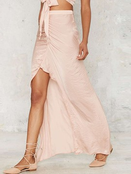 Ericdress Asymmetric Pleated Split Skirt