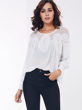 Ericdress White Mesh Patchwork Blouse