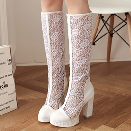 Ericdress Lace Patchwork Chunky Heel Knee High Boots