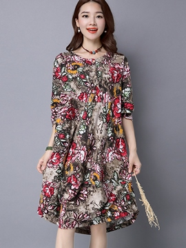 Ericdress Print Single-Breasted Loose Casual Dress