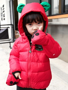 Ericdress Cartoon Gloves Patch Hooded Down Coat Girls Outerwear