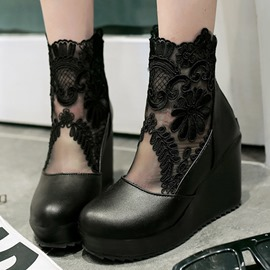 Ericdress Lace Patchwork Round Toe Wedge Heel Ankle Boots