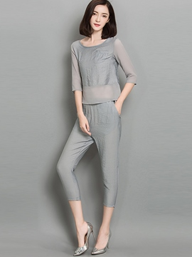 Ericdress Simple Solid Color Pants Suit