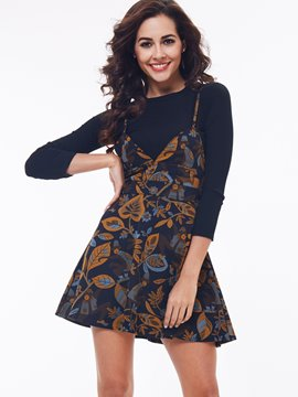Ericdress Print Spaghetti Straps Dress Suit