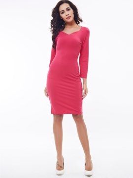 Ericdress Solid Color Square Neck Sheath Dress