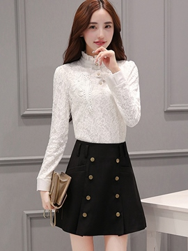 Ericdress Elegant Lace Blouse Suit