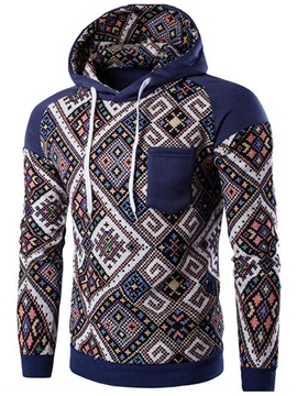 Ericdress Color Block Ethnic Style Print Pullover Men's Hoodie